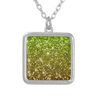 Brillos verdes claros brillantes del oro colgante cuadrado