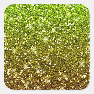 Brillos verdes claros brillantes del oro pegatina cuadrada