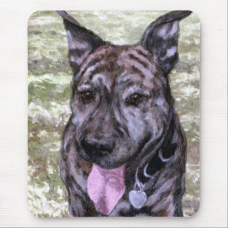 Brindle Amstaff American Staffordshire Terrier Dog Mouse Pad