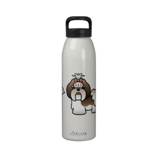 Brindle And White Cartoon Shih Tzu Love Reusable Water Bottle