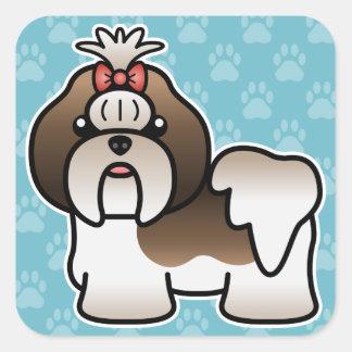 Brindle And White Cartoon Shih Tzu Square Sticker
