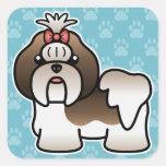 Brindle And White Cartoon Shih Tzu Stickers