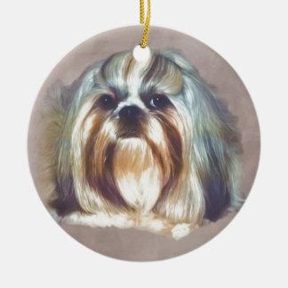 Brindle and White Shih Tzu Dog Ceramic Ornament