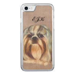 Carved Apple iPhone 7 Wood Case with Shih Tzu Phone Cases design