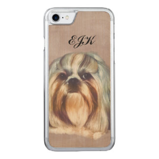 Brindle and White Shih Tzu Dog, Monogram Carved iPhone 7 Case