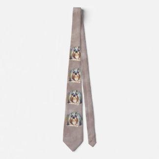 Brindle and White Shih Tzu Dog Neck Tie