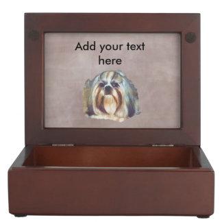 Brindle and White Shih Tzu Dog Keepsake Boxes