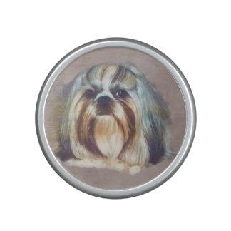 Brindle and White Shih Tzu Dog Speaker