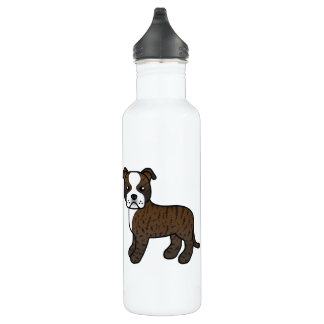Brindle And White Staffordshire Bull Terrier Water Bottle