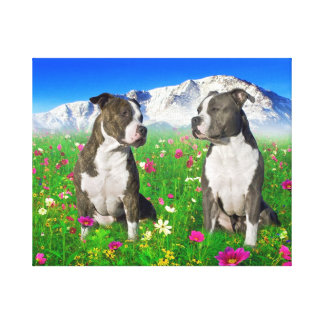 Brindle & Blue Staffordshire & Pit Bull Dogs Canvas Print