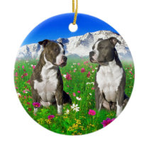 Brindle & Blue Staffordshire & Pit Bull Dogs Ceramic Ornament