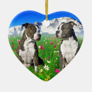 Brindle & Blue Staffordshire & Pit Bull Dogs Double-Sided Heart Ceramic Christmas Ornament