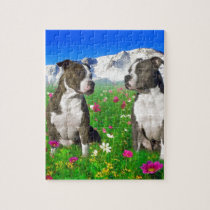 Brindle & Blue Staffordshire & Pit Bull Dogs Jigsaw Puzzle