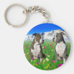 Brindle & Blue Staffordshire & Pit Bull Dogs Key Chain