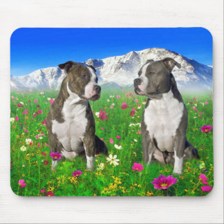 Brindle & Blue Staffordshire & Pit Bull Dogs Mouse Pad