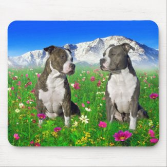 Brindle & Blue Staffordshire & Pit Bull Dogs Mousepad