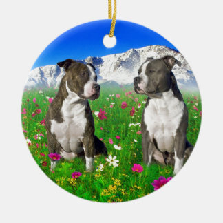 Brindle & Blue Staffordshire & Pit Bull Dogs Double-Sided Ceramic Round Christmas Ornament