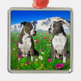 Brindle Blue Staffordshire Pit Bull Dogs Christmas Tree Ornament