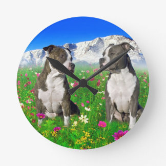Brindle & Blue Staffordshire & Pit Bull Dogs Round Clock