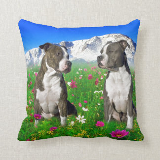 Brindle & Blue Staffordshire & Pit Bull Dogs Throw Pillow