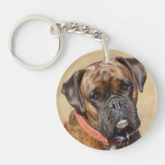Brindle Boxer Dog Double-Sided Round Acrylic Keychain