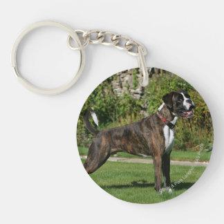 Brindle Boxer Dog Show Stance Double-Sided Round Acrylic Keychain