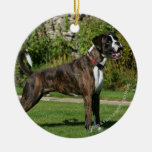 Brindle Boxer Dog Show Stance Double-Sided Ceramic Round Christmas Ornament
