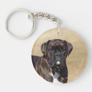 Brindle Boxer Dog Standing Double-Sided Round Acrylic Keychain