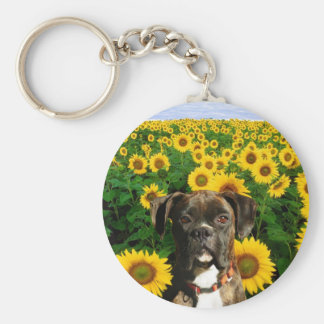 Brindle boxer in Sunflowers keychain