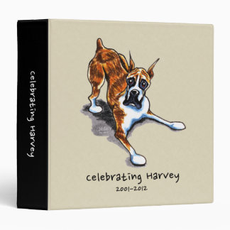 Brindle Boxer Personalized Memory Photo Album 3 Ring Binder
