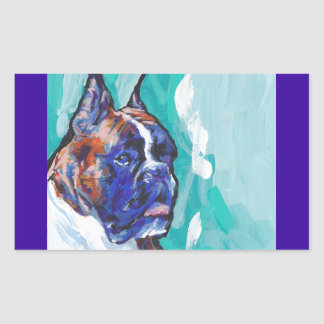 Brindle Boxer Pop Dog Art Rectangular Sticker