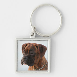 Brindle boxer puppy square keychain