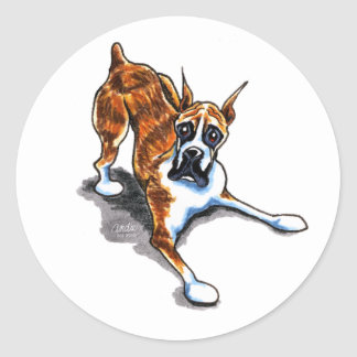 Brindle Boxer Wanna Play Classic Round Sticker