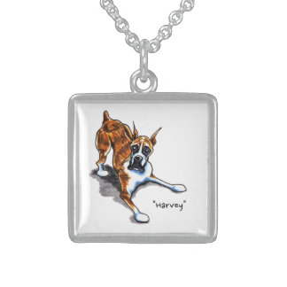 Brindle Boxer Wanna Play Personalized Square Pendant Necklace