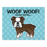 Brindle Cartoon English Bulldog Custom Announcement
