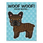 """Brindle Cartoon French Bulldog 4.25"""" X 5.5"""" Invitation Card"""
