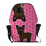 Brindle Cartoon French Bulldog Love Messenger Bag