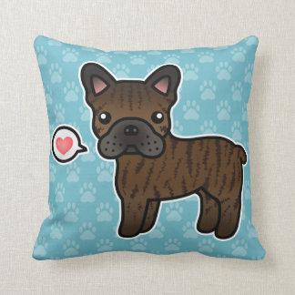 Brindle Cartoon French Bulldog Love Throw Pillows