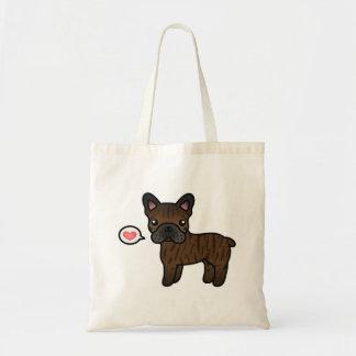 Brindle Cartoon French Bulldog Love Tote Bag