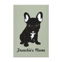 Brindle French Bulldog (Custom Name) Canvas Print