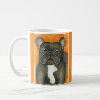 Brindle French Bulldog orange mug
