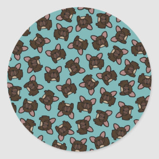 Brindle Frenchie Classic Round Sticker