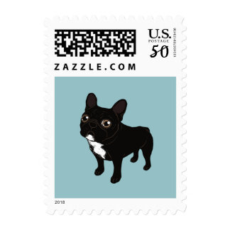 Brindle Frenchie likes to go for a walk Postage