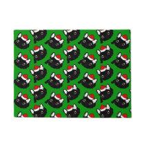 Brindle Frenchie loves Christmas season Doormat