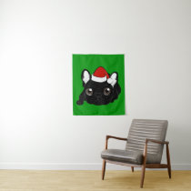 Brindle Frenchie loves Christmas season Tapestry