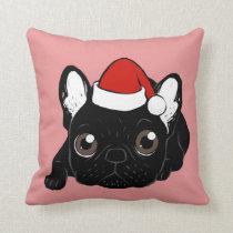 Brindle Frenchie loves Christmas season Throw Pillow