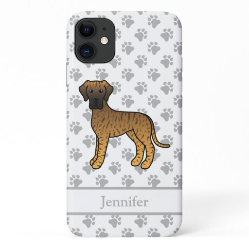 Brindle Great Dane Cute Cartoon Dog & Name iPhone 11 Case