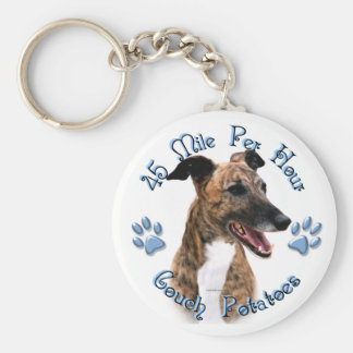 Brindle Greyhound Couch Potato Keychain