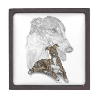Brindle Greyhound Dog Art Jewelry Box
