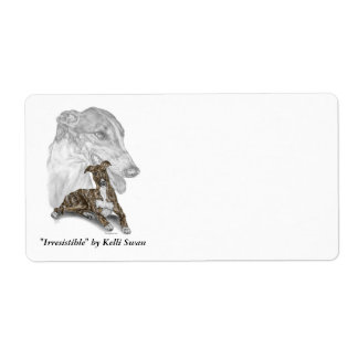 Brindle Greyhound Dog Art Label